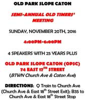 OPSC Semi-Annual Old-Timers' Meeting @ Old Park Slope Caton | New York | United States